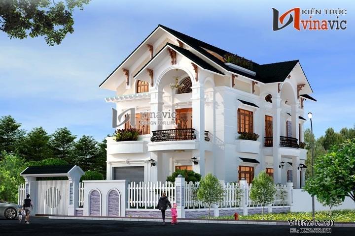 Mẫu nhà 100m2 3 tầng 4 phòng ngủ mặt tiền 8m dự kiến đầu tư 1,7 tỷ BT1488