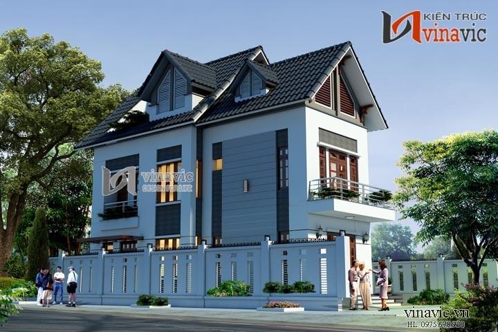 Mẫu nhà chữ L đẹp 3 tầng 100m2 3 phòng ngủ mặt tiền rộng 12m BT1505