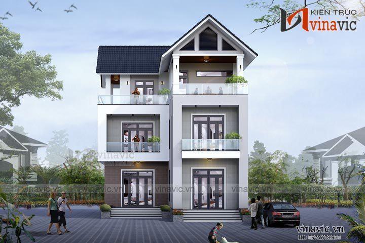 Mẫu nhà 3 tầng chữ L hiện đại 350m2 dự kiến 2,3 tỷ BT1523