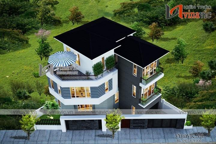 Mẫu nhà 3 tầng 150m2 1 tầng hầm mặt tiền 12m thiết kế hiện đại BT1619