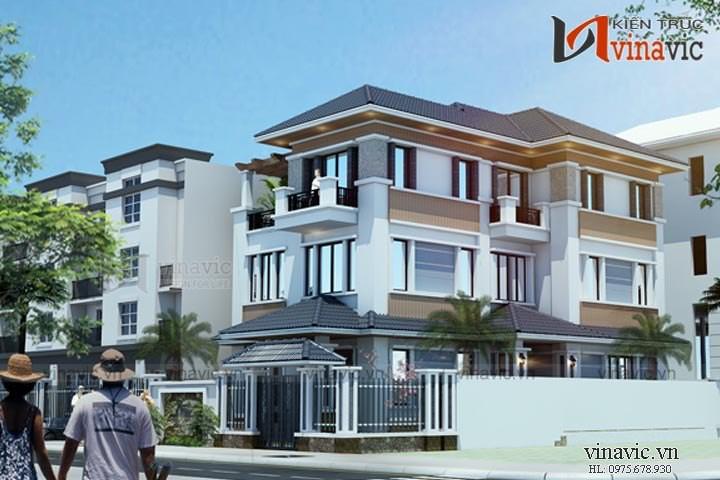 Mẫu biệt thự 3 tầng 120m2 hiện đại 5 phòng ngủ mặt tiền 9m BT1661