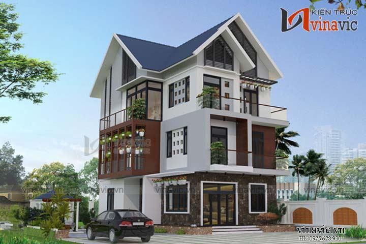 Mẫu nhà đẹp 3 tầng 100m2 4 phòng ngủ 2 mặt tiền 7m hiện đại BT1662