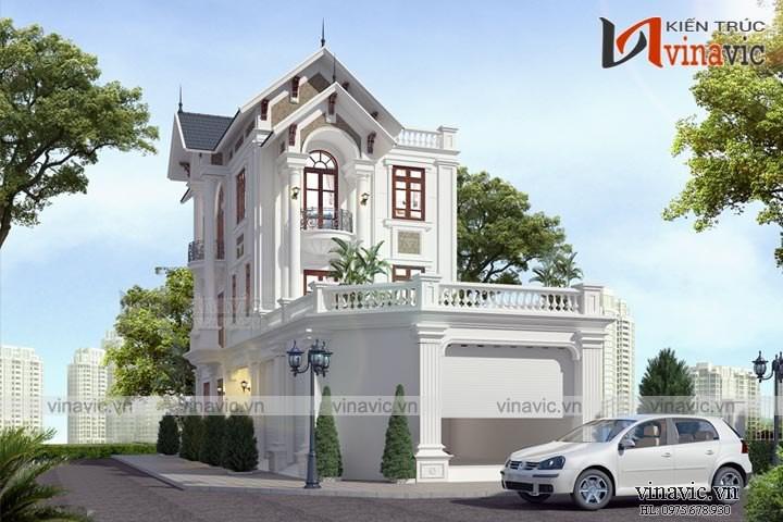 Mẫu nhà đẹp 3 tầng 100m2 mặt tiền 8m chiều sâu 14m ở Hà Nam BT1666