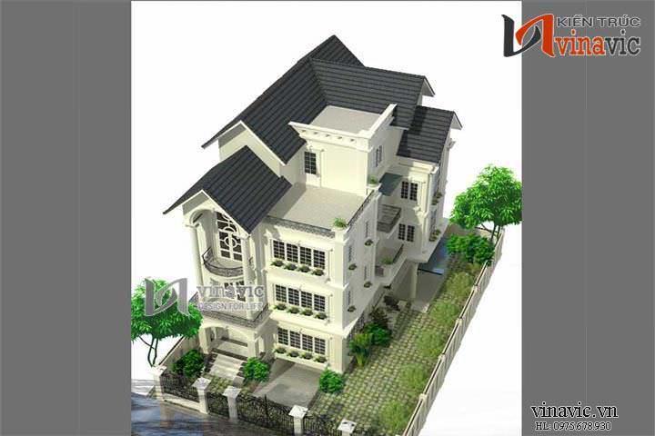 Mẫu thiết kế nhà biệt thự đẹp 4 tầng BT1407