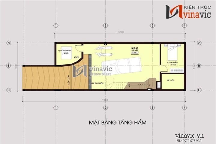 Mẫu thiết kế nhà ống đẹp giả biệt thự 3 tầng 1 hầm NO1440