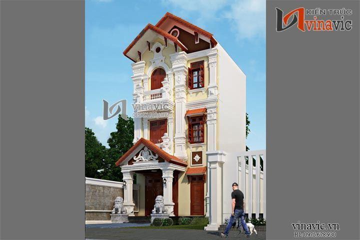 Mẫu thiết kế biệt thự nhà ống 3 tầng phong cách cổ điển NO1443
