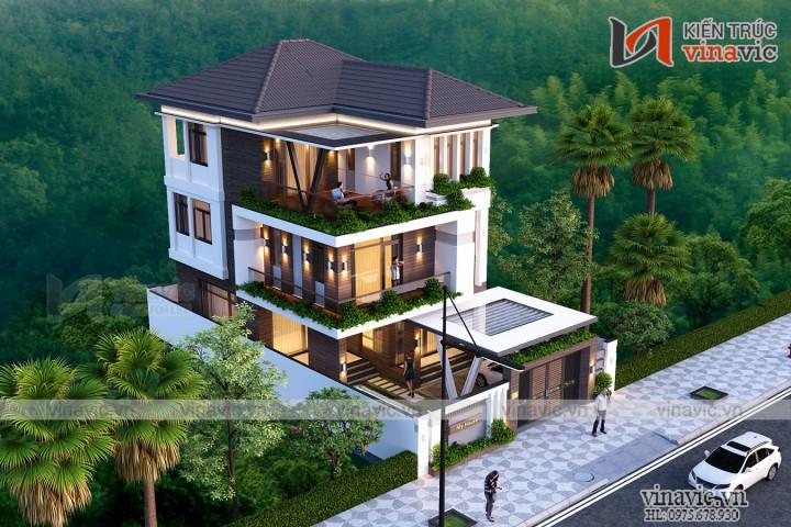 Nhà biệt thự 3 tầng mái thái hiện đại 100m2 3 tầng 3 phòng ngủ BT1913