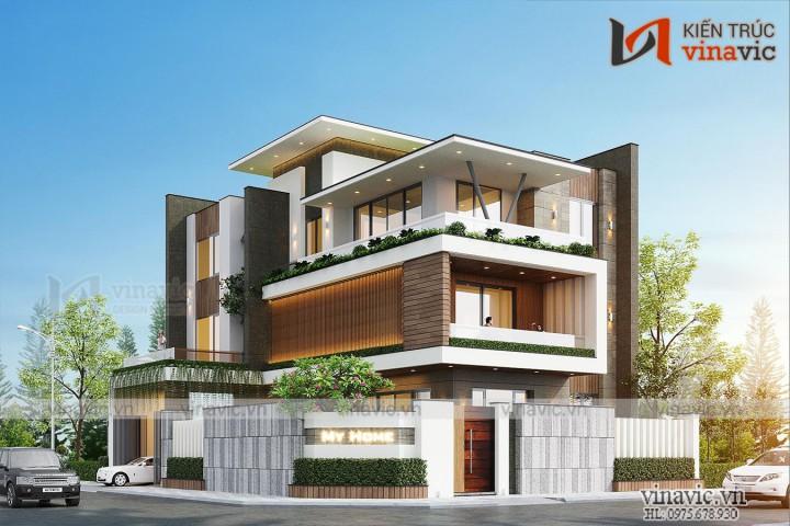 Nhà biệt thự hiện đại 3 tầng 180m2 1 sàn ở An Dương- Hải Phòng BT2002