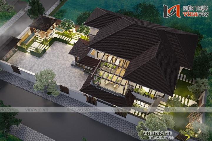 Nhà chữ L 250m2 phong cách hiện đại 2 tầng ở Thái Nguyên BT2003