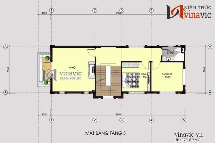 Chiêm ngưỡng mẫu thiết kế nhà ống đẹp 3 tầng 5,5 x15,5m NO1446