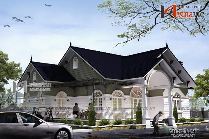 Thiết kế nhà vườn 1 tầng mái thái 3 phòng ngủ trên đất 19x12m BT1513