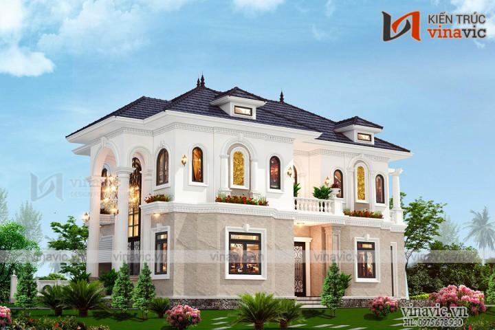 Biệt thự 2 tầng  phong cách tân cổ điển 160m2 ở Bắc Giang  BT2006