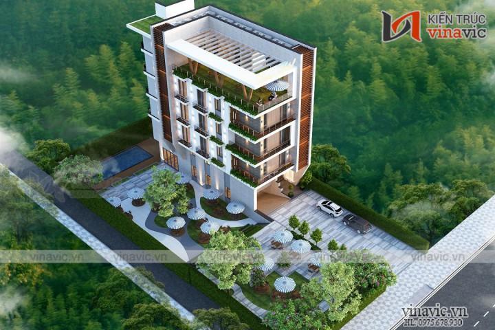 Thiết kế khách sạn 5 tầng 1 hầm mặt tiền 9m ở Quảng Trị