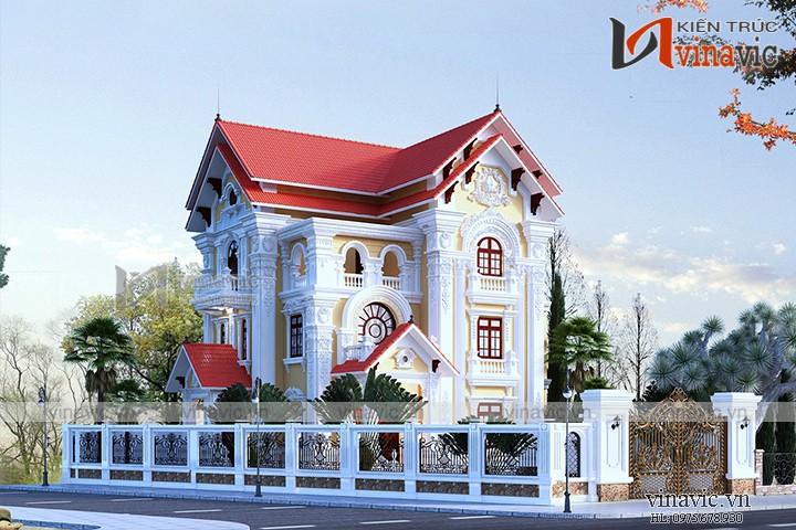 Thiết kế nhà 3 tầng 12x13m 150m2 mái thái 2 mặt tiền cổ điển BT1506
