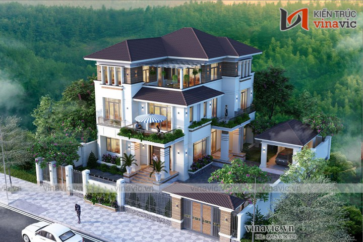 Thiết kế nhà đẹp 3 tầng hiện đại 12x15m2 ở Hạ Long- Quảng Ninh BT2011