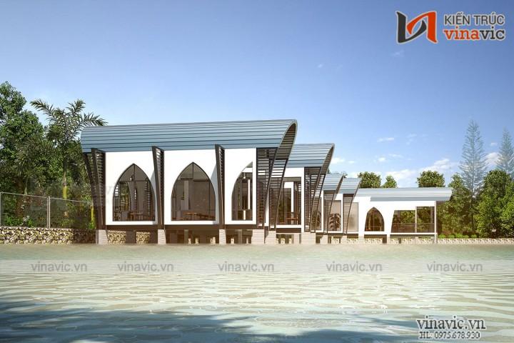 Thiết Kế Nhà Hàng Ven Hồ Dự Án SunSet Hòa Bình NH09