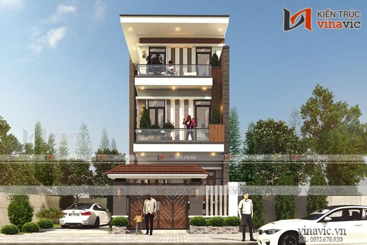 Thiết kế nhà ống 3 tầng hiện đại mặt tiền 6m sâu 17m ở Ninh Bình NO2002