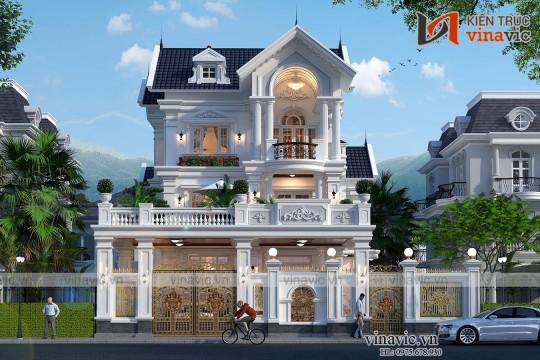 Biệt thự phố 3 tầng mặt tiền 11m mái thái tân cổ điển ở Nghệ An BT2017