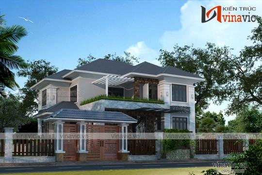 Mẫu nhà 2 tầng 4 phòng ngủ ngang 11m thiết kế ở Bắc Giang BT1669