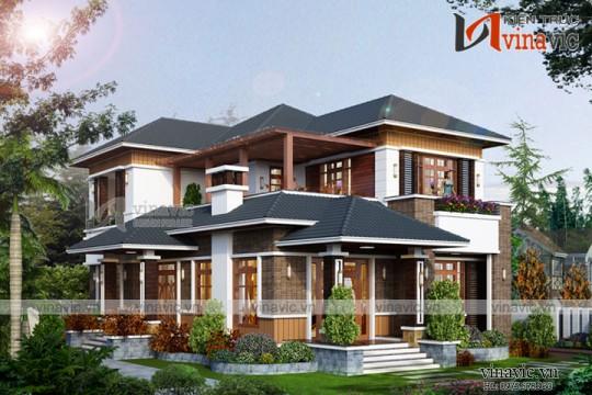 Mẫu thiết kế nhà 2 tầng 3 phòng ngủ diện tích 200m2 1 sàn BT1687