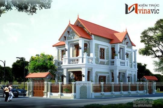 Mẫu nhà biệt thự cổ điển đẹp 2 tầng tone màu trắng BTCC1600