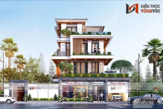Mẫu thiết kế nhà 3,5 tầng hiện đại mái nhật vừa ở vừa kinh doanh BT2028