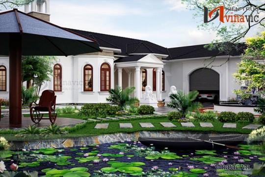 Bản thiết kế nhà vườn 1 tầng 5 phòng ngủ mặt tiền rộng 25m dài 28m BT1525