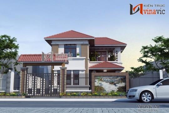 Nhà 2 tầng mặt tiền 10m kích thước 10x12m 4 phòng ngủ hiện đại BT1484