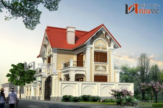 Mẫu nhà đẹp 2 tầng hình chữ l 3 phòng ngủ kích thước 12x10m BT1504