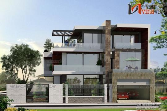 Biệt thự hiện đại 3 tầng 500m2 mức đầu tư 4 tỷ kiểu Singapore BT1659