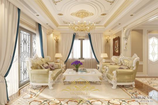 Mẫu thiết kế nội thất biệt thự cổ điển ở Quảng Ninh NT2005