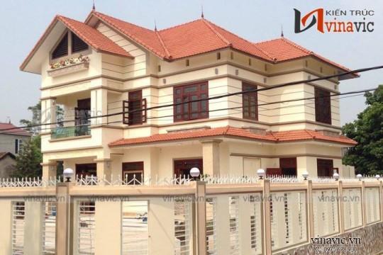 Xây nhà đẹp trọn gói công trình biệt thự 2 tầng TCBT1455
