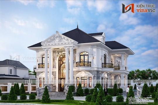 Thiết kế biệt thự vườn 2 tầng tân cổ điển ở  Sơn La 2031
