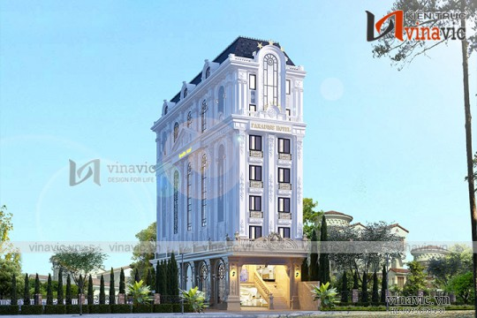 Thiết kế khách sạn mini 180m2 mặt tiền 8m 7 tầng tân cổ điển KSVP1902