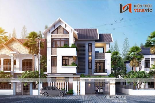 Thiết kế nhà 3 tầng 140m2 5 phòng ngủ ở Hà Nam BT2012
