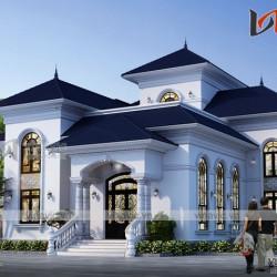 Biệt thự cao cấp 2 tầng hình chữ L mái thái thiết kế kiểu tân cổ điển BT1805