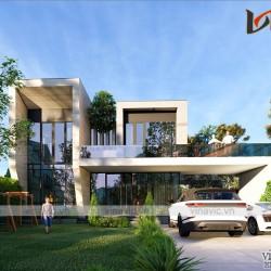 Biệt thự 2 tầng hiện đại 500m2 có hồ cá koi ở Mộc Châu- Sơn La BT2008