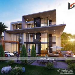 Biệt thự hiện đại 250m2 3 tầng kt 16x16m có hồ bơi ở Quảng Bình BT2013