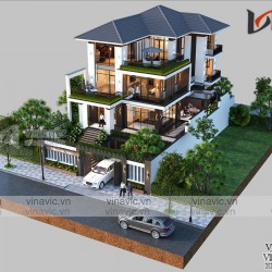 Biệt thự hiện đại 3 tầng mái nhật diện tích 11x15m ở Nghệ An  BT2027