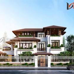Thiết kế biệt thự 3 tầng hiện đại với cây xanh quanh nhà BT1910