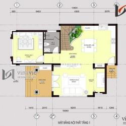 Mẫu nhà 2 tầng mặt tiền 8m diện tích 100m2 chữ L thiết kế hiện đại  BT1489