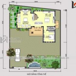Mẫu nhà biệt thự xinh 2 tầng mái thái mặt tiền rộng BT1809