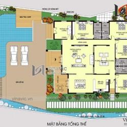 Bản vẻ thiết kế nhà vuông 1 tầng 300m2 kích thước 17x18m BT1509