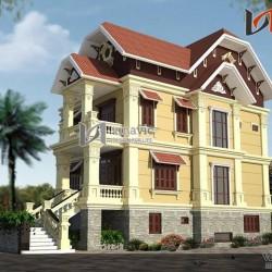 Mẫu thiết kế biệt thự 3 tầng đẹp phong cách cổ điển châu Âu  BTCC1437