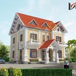 Thiết kế biệt thự tân cổ điển sang trọng với tone màu vàng BTCC1420