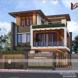 Mẫu nhà đẹp 3 tầng hiện đại mặt tiền rộng  14m sâu 10m ở Quảng Trị BT2013