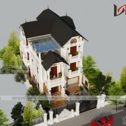 Mẫu nhà đẹp 3 tầng mặt tiền 8m sâu 15m mái thái tinh tế từng chi tiết BT1822