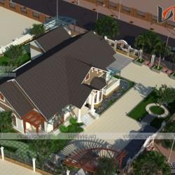 Biệt thự vườn 1 tầng 4 phòng ngủ tân cổ điển Hạ Hòa- Phú Thọ BT1676