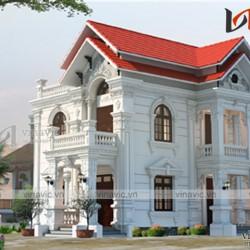 Thiết kế nhà 2 tầng 1 tum 160m2 phong cách cổ điển BT1686