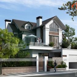 Thiết kế nhà 2 tầng 4 phòng ngủ diện tích 150m2 mái dốc truyền thống BT1671